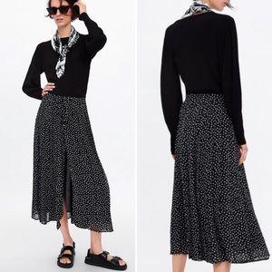 Zara Pleated Polka Dot Midi  Skirt
